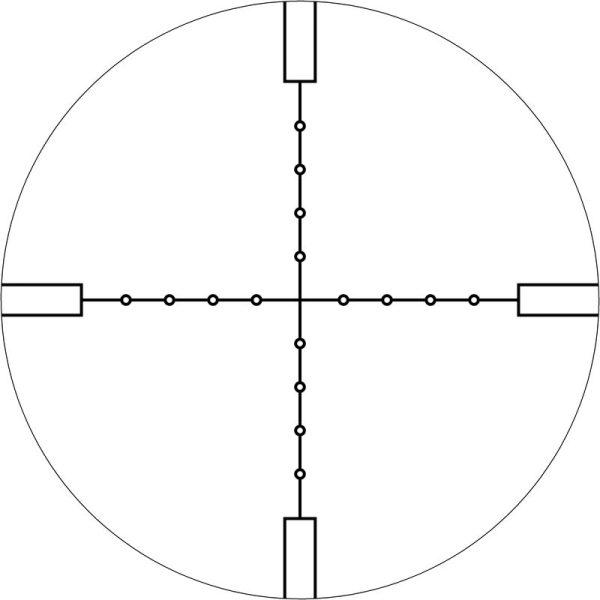 BelOMO Mil Dot Absehen bei Vergrößerung (Schematisch)